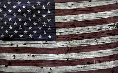 Wooden Textured Usa Flag3 Poster