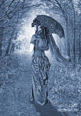 Woodland Stroll Cyanotype Poster by John Edwards