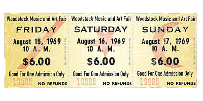 Woodstock Ticket Stub Poster Poster by Alain Jamar
