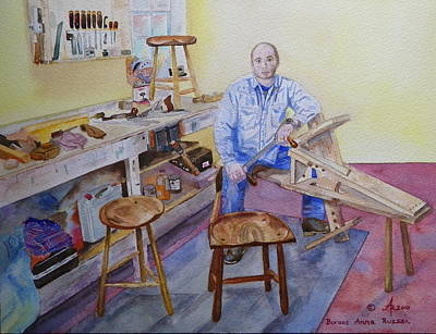 Woodworker Chair Maker Poster by Anna Ruzsan