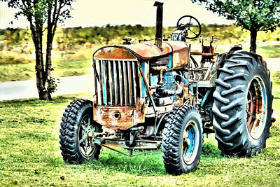 Work A Holic Tractor Art Poster by Lesa Fine