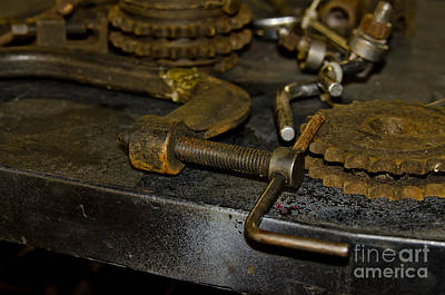 Poster featuring the photograph Work Bench Rusty Tools And Motorcycle Sprockets  by Wilma  Birdwell