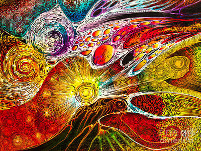 Work On Batik Painting Abstract Colorful Poster