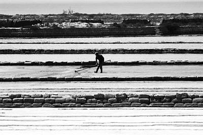 Worker Man At The Salt Industry Black And White Poster by Marco Battaglia