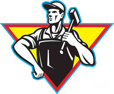 Worker With Hammer Retro Poster by Aloysius Patrimonio