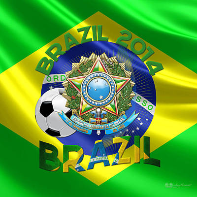 World Cup 2014 - Team Brazil Poster by Serge Averbukh
