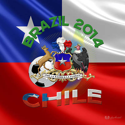 World Cup 2014 - Team Chile Poster by Serge Averbukh