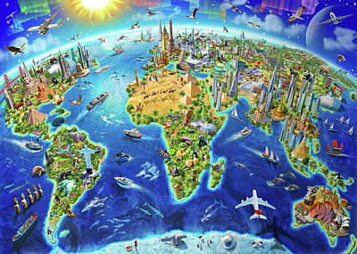 World Landmarks Globe Poster