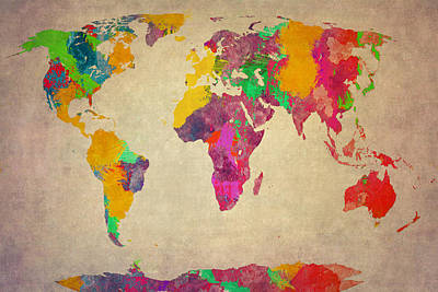 World Map Acrylic Paint With Antarctica  Poster by Eti Reid
