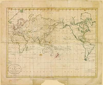 World Map Poster by American Philosophical Society
