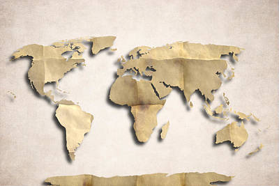 World Map Art - Old Paper Poster by World Art Prints And Designs