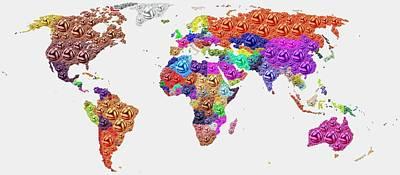World Map - Soccer Football 2014 Poster