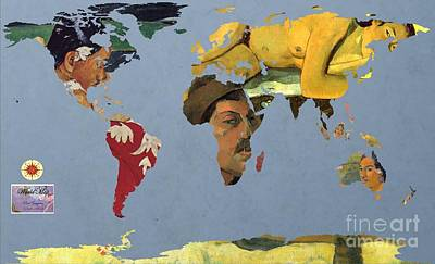 World Map  Gauguin Poster by John Clark