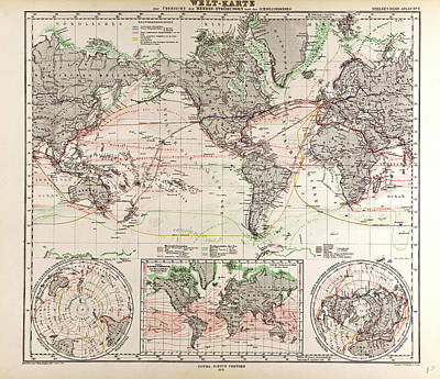 World Map Gotha Justus Perthes 1872 Atlas Poster by English School