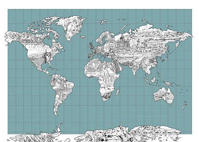 World Map Landmark Collage 3 Poster