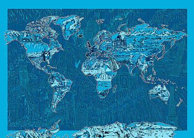 World Map Landmark Collage Blue Poster