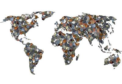 World Map Made Up Of Coins Poster