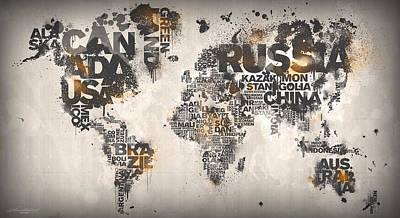World Map Minimal Orange Poster