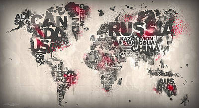 World Map Minimal Red Poster