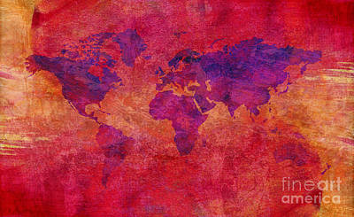 Poster featuring the digital art World Map  by Mohamed Elkhamisy