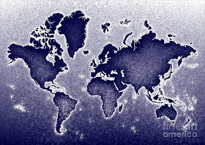 World Map Novo In Blue Poster by Eleven Corners