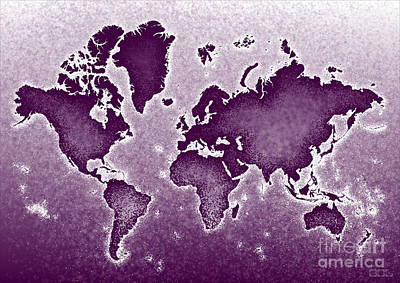World Map Novo In Purple Poster by Eleven Corners