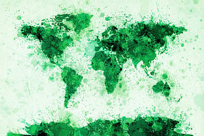 World Map Paint Splashes Green Poster by Michael Tompsett