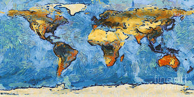 World Map Painterly Poster