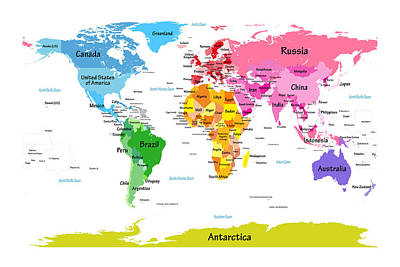 World Map With Big Text  Poster