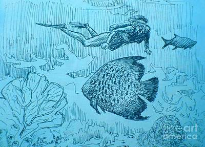 World Of Blue Poster by John Malone