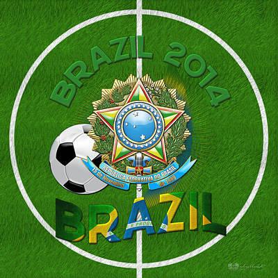 World Of Soccer 2014 - Brazil Poster by Serge Averbukh