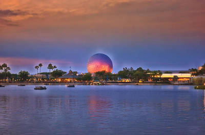 World Showcase Lagoon Sunset Poster by Thomas Woolworth