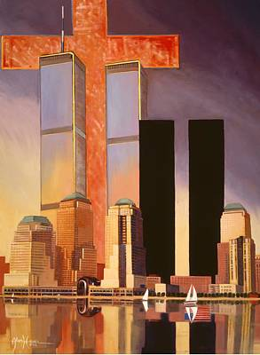 Poster featuring the painting World Trade Center Memorial by Art James West