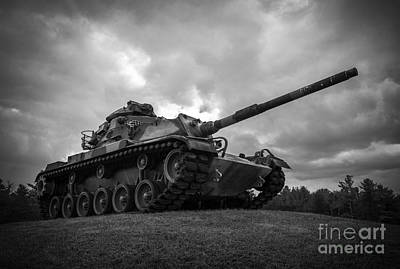 World War II Tank Black And White Poster