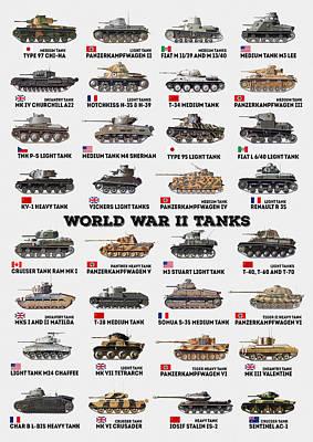 World War II Tanks Poster by Taylan Apukovska