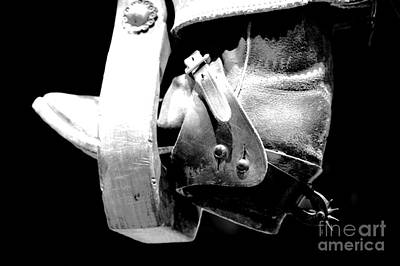 Worn Western Leather Boot With Spur In Stirrup Conte Crayon Black And White Digital Art Poster
