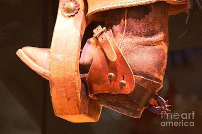 Worn Western Leather Boot With Spur In Stirrup Film Grain Digital Art Poster