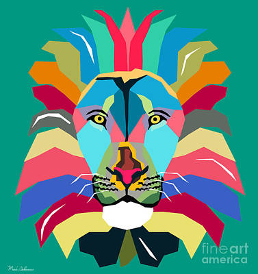 Wpap Lion Poster by Mark Ashkenazi