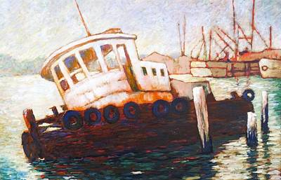 Poster featuring the painting Wrecked Tug by Charles Munn