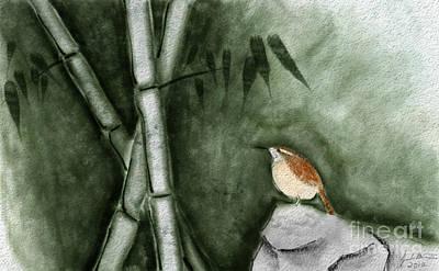 Wren In Bamboo Poster