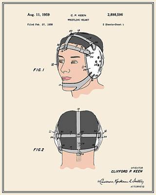 Wrestling Helmet Patent - Colour Poster