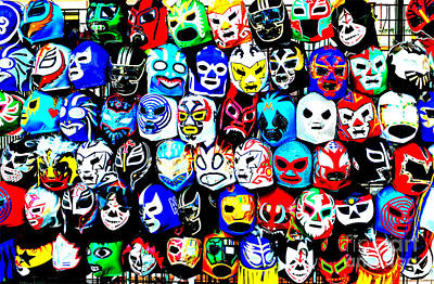 Wrestling Masks Of Lucha Libre Altered Poster by Jim Fitzpatrick