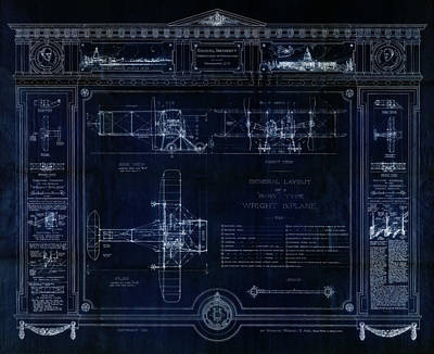 Wright Bros 'roadster' Biplane Blueprint - 1908 Poster