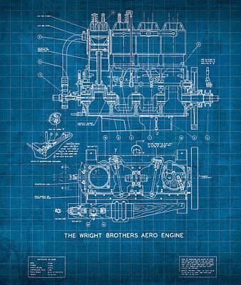 Wright Brothers Aero Engine Vintage Patent Blueprint Poster