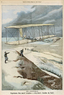 Wright Brothers At Kitty Hawk Poster by Mary Evans Picture Library