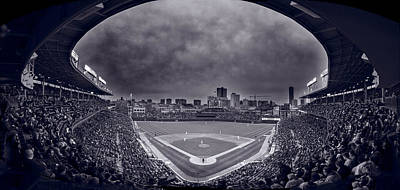 Wrigley Field Night Game Chicago Bw Poster by Steve Gadomski