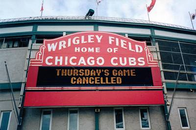 Poster featuring the photograph Wrigley Field Weeps For America by Sheri Keith