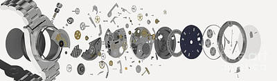 Wristwatch, Exploded-view Diagram Poster