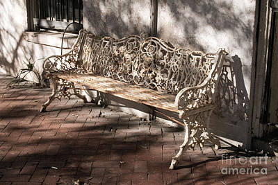 Wrought Iron Bench In White Poster by Jennifer Apffel