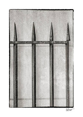 Wrought Iron Gate In Black And White Poster by Brenda Bryant